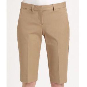 Theory Jitney Khaki Bermuda Shorts